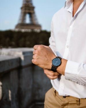 Men's watch 215K103 black leather strap